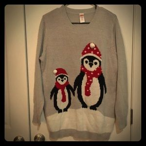 Holiday Time Ugly Christmas Sweater Penguin